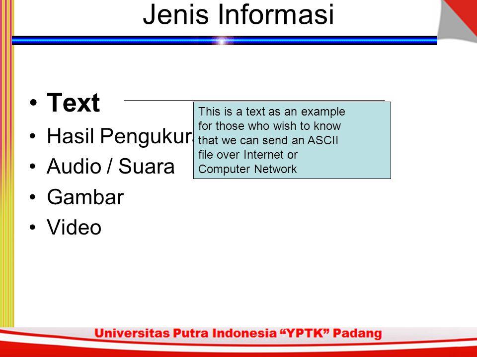 Jenis Informasi Text Hasil Pengukuran / Telemetri Audio / Suara Gambar Video