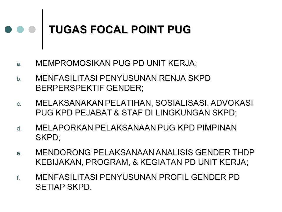 TUGAS FOCAL POINT PUG a.MEMPROMOSIKAN PUG PD UNIT KERJA; b.