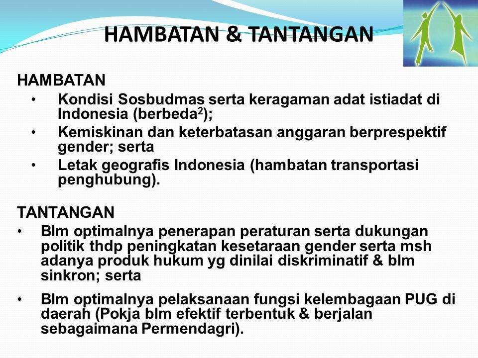 HAMBATAN & TANTANGAN HAMBATAN Kondisi Sosbudmas serta keragaman adat istiadat di Indonesia (berbeda 2 ); Kemiskinan dan keterbatasan anggaran berpresp
