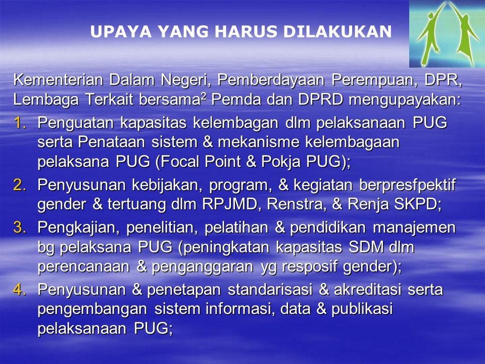 Kementerian Dalam Negeri, Pemberdayaan Perempuan, DPR, Lembaga Terkait bersama 2 Pemda dan DPRD mengupayakan: 1.Penguatan kapasitas kelembagan dlm pelaksanaan PUG serta Penataan sistem & mekanisme kelembagaan pelaksana PUG (Focal Point & Pokja PUG); 2.Penyusunan kebijakan, program, & kegiatan berpresfpektif gender & tertuang dlm RPJMD, Renstra, & Renja SKPD; 3.Pengkajian, penelitian, pelatihan & pendidikan manajemen bg pelaksana PUG (peningkatan kapasitas SDM dlm perencanaan & penganggaran yg resposif gender); 4.Penyusunan & penetapan standarisasi & akreditasi serta pengembangan sistem informasi, data & publikasi pelaksanaan PUG; UPAYA YANG HARUS DILAKUKAN