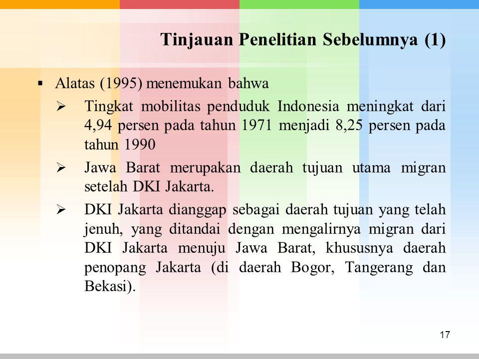 Tinjauan Penelitian Sebelumnya (1)  Alatas (1995) menemukan bahwa  Tingkat mobilitas penduduk Indonesia meningkat dari 4,94 persen pada tahun 1971 m