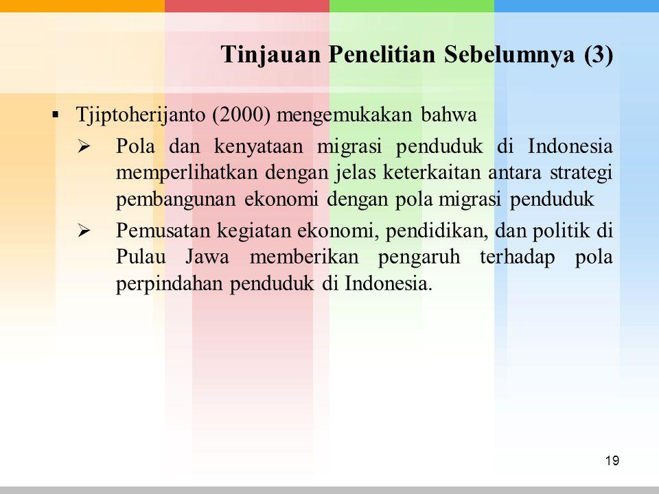 Tinjauan Penelitian Sebelumnya (3)  Tjiptoherijanto (2000) mengemukakan bahwa  Pola dan kenyataan migrasi penduduk di Indonesia memperlihatkan denga