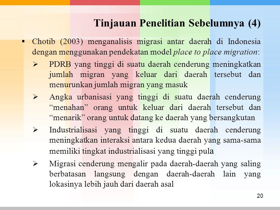 Tinjauan Penelitian Sebelumnya (4)  Chotib (2003) menganalisis migrasi antar daerah di Indonesia dengan menggunakan pendekatan model place to place m