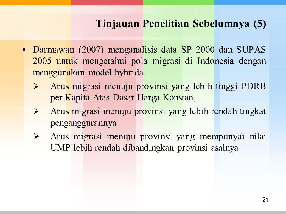 Tinjauan Penelitian Sebelumnya (5)  Darmawan (2007) menganalisis data SP 2000 dan SUPAS 2005 untuk mengetahui pola migrasi di Indonesia dengan menggu