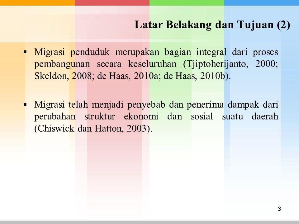 Latar Belakang dan Tujuan (2)  Migrasi penduduk merupakan bagian integral dari proses pembangunan secara keseluruhan (Tjiptoherijanto, 2000; Skeldon,