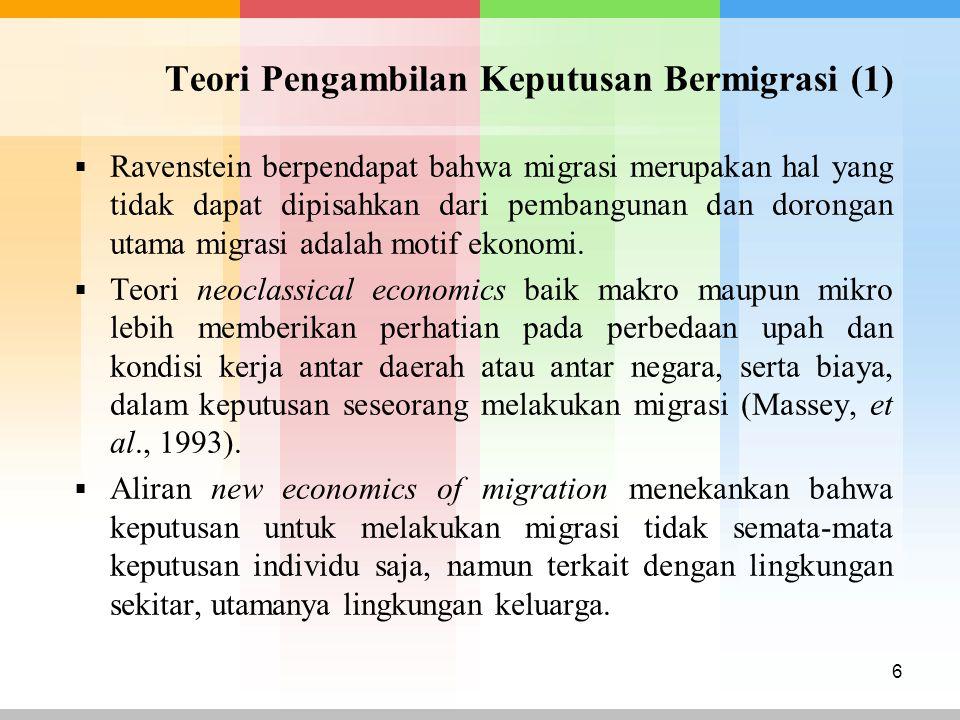 Teori Pengambilan Keputusan Bermigrasi (2)  Dual labor market theory menyatakan migrasi terjadi bukan karena push factors yang ada pada daerah asal, namun lebih karena adanya pull factors pada daerah tujuan.