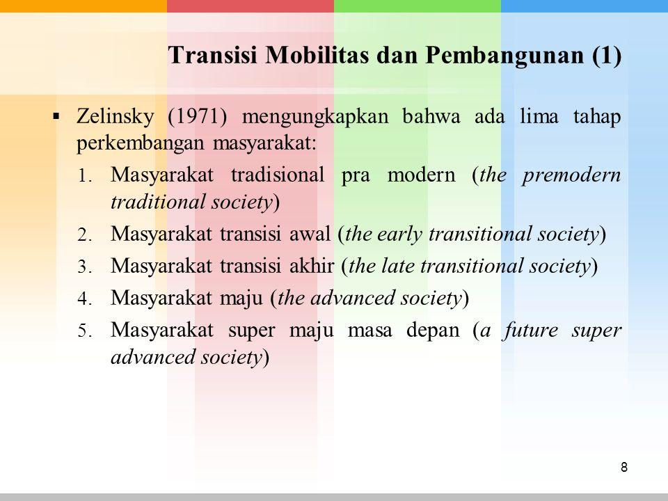 Transisi Mobilitas dan Pembangunan (1)  Zelinsky (1971) mengungkapkan bahwa ada lima tahap perkembangan masyarakat: 1. Masyarakat tradisional pra mod