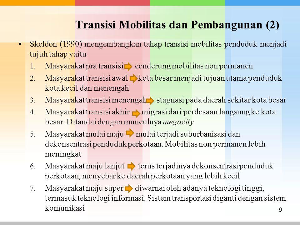 Transisi Mobilitas dan Pembangunan (2)  Skeldon (1990) mengembangkan tahap transisi mobilitas penduduk menjadi tujuh tahap yaitu 1. Masyarakat pra tr