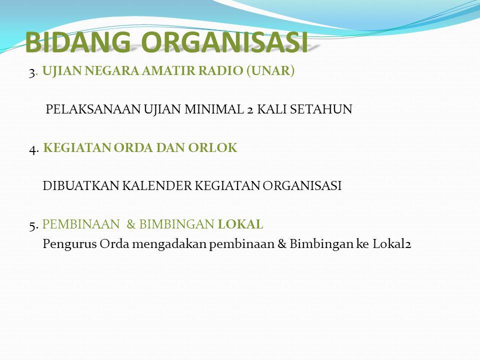 BIDANG ORGANISASI 3.UJIAN NEGARA AMATIR RADIO (UNAR) PELAKSANAAN UJIAN MINIMAL 2 KALI SETAHUN 4.