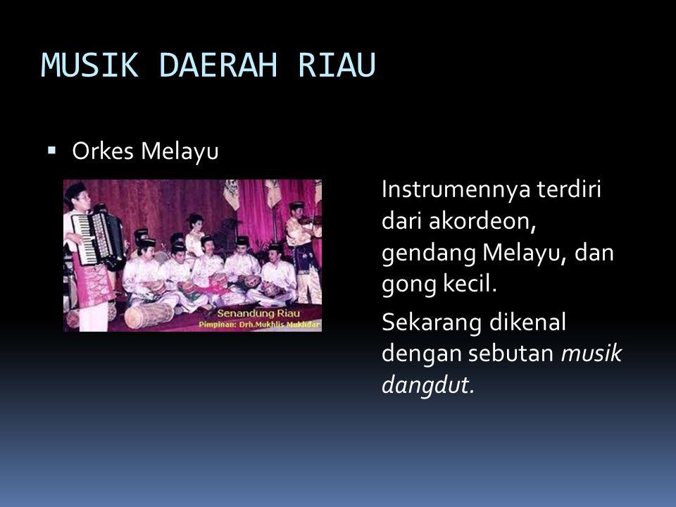 MUSIK DAERAH RIAU  Orkes Melayu Instrumennya terdiri dari akordeon, gendang Melayu, dan gong kecil. Sekarang dikenal dengan sebutan musik dangdut.