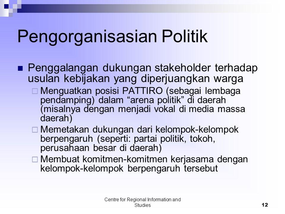 Centre for Regional Information and Studies12 Pengorganisasian Politik Penggalangan dukungan stakeholder terhadap usulan kebijakan yang diperjuangkan