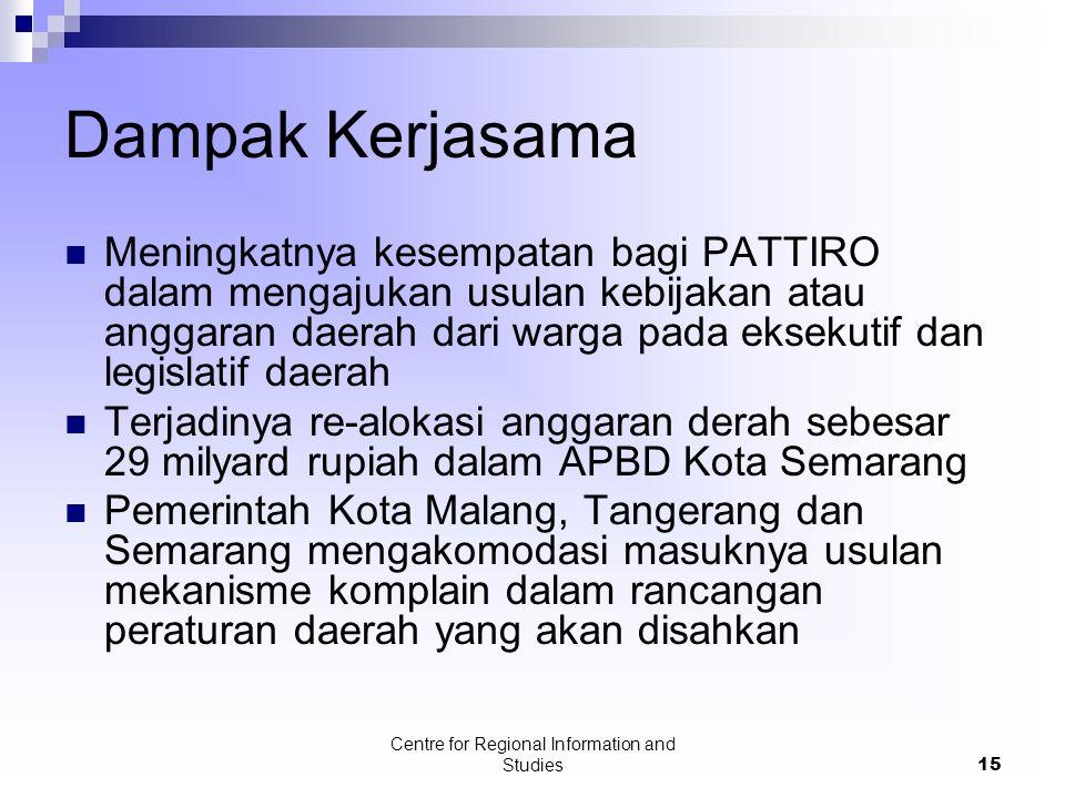 Centre for Regional Information and Studies15 Dampak Kerjasama Meningkatnya kesempatan bagi PATTIRO dalam mengajukan usulan kebijakan atau anggaran da