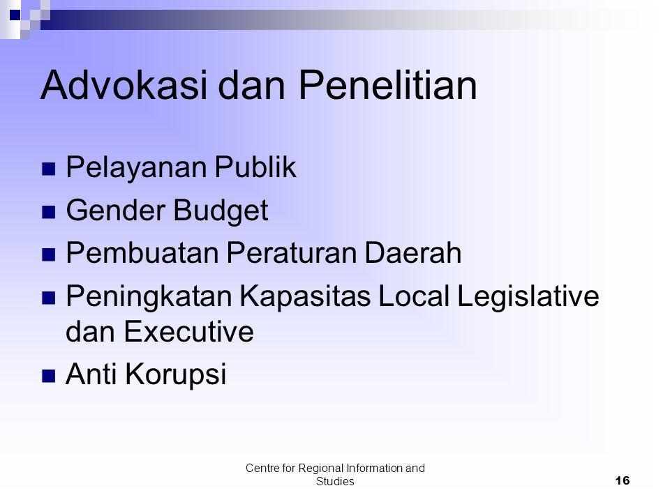 Centre for Regional Information and Studies16 Advokasi dan Penelitian Pelayanan Publik Gender Budget Pembuatan Peraturan Daerah Peningkatan Kapasitas