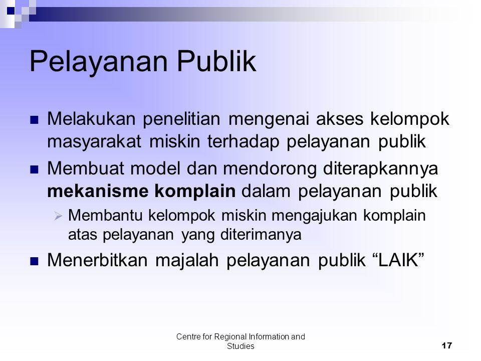 Centre for Regional Information and Studies17 Pelayanan Publik Melakukan penelitian mengenai akses kelompok masyarakat miskin terhadap pelayanan publi