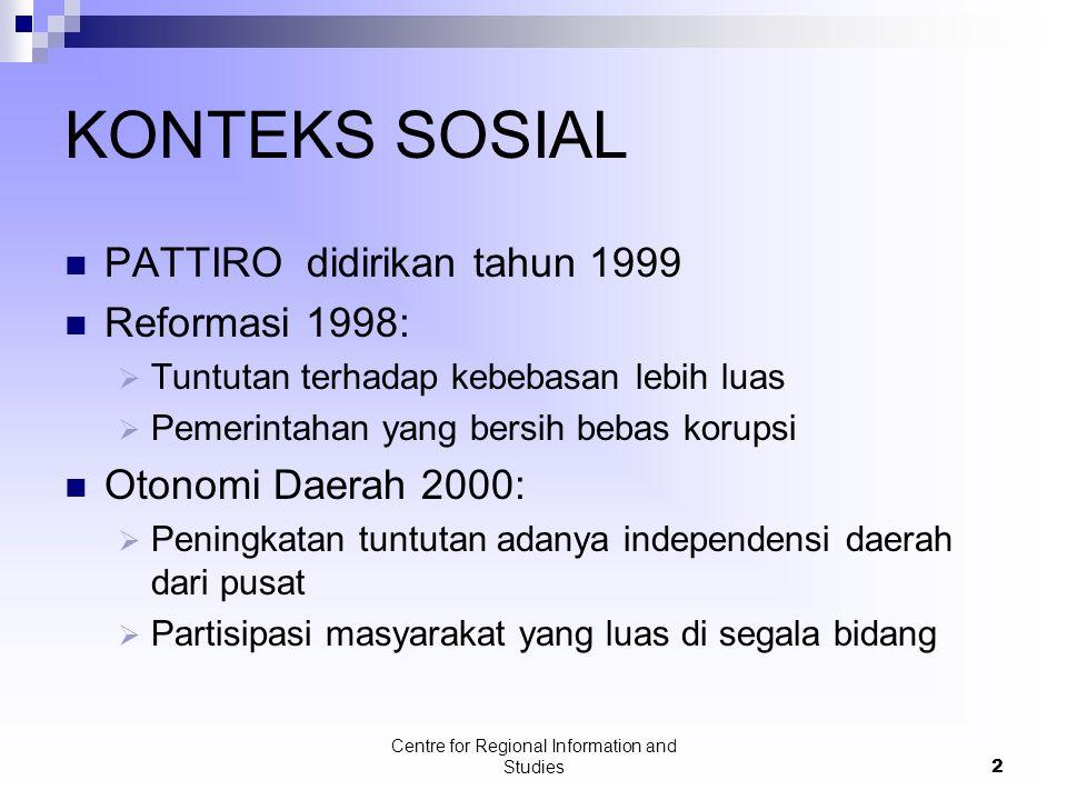 Centre for Regional Information and Studies2 KONTEKS SOSIAL PATTIRO didirikan tahun 1999 Reformasi 1998:  Tuntutan terhadap kebebasan lebih luas  Pe