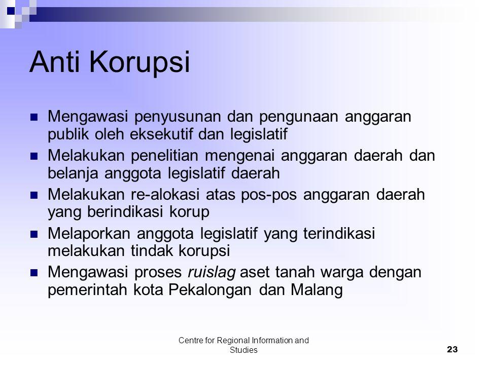 Centre for Regional Information and Studies23 Anti Korupsi Mengawasi penyusunan dan pengunaan anggaran publik oleh eksekutif dan legislatif Melakukan