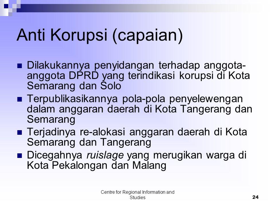 Centre for Regional Information and Studies24 Anti Korupsi (capaian) Dilakukannya penyidangan terhadap anggota- anggota DPRD yang terindikasi korupsi