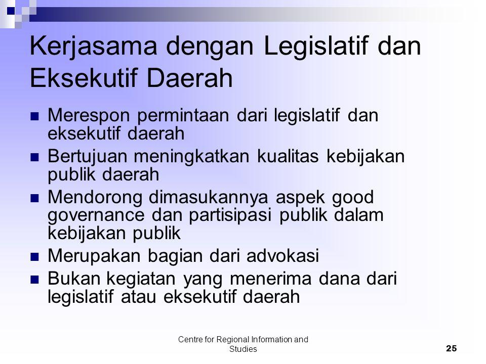 Centre for Regional Information and Studies25 Kerjasama dengan Legislatif dan Eksekutif Daerah Merespon permintaan dari legislatif dan eksekutif daera