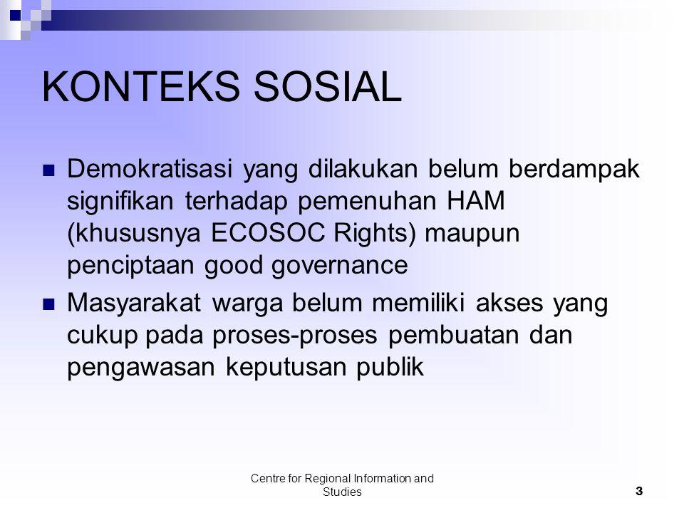 Centre for Regional Information and Studies3 KONTEKS SOSIAL Demokratisasi yang dilakukan belum berdampak signifikan terhadap pemenuhan HAM (khususnya