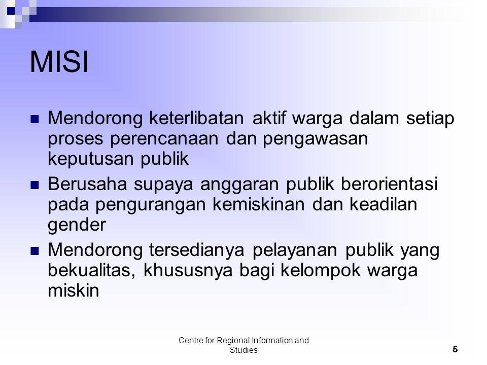 Centre for Regional Information and Studies5 MISI Mendorong keterlibatan aktif warga dalam setiap proses perencanaan dan pengawasan keputusan publik B