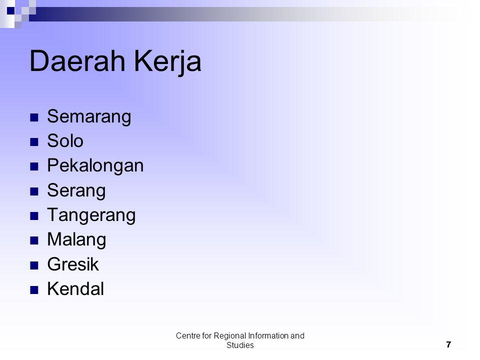 Centre for Regional Information and Studies7 Daerah Kerja Semarang Solo Pekalongan Serang Tangerang Malang Gresik Kendal