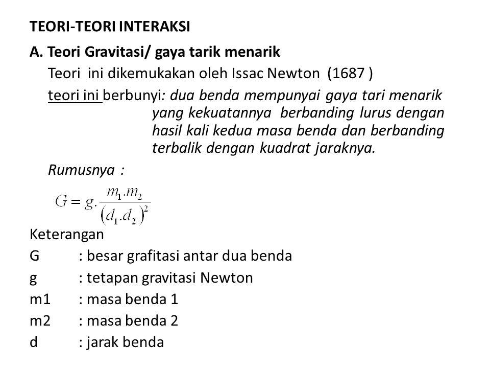 TEORI-TEORI INTERAKSI A. Teori Gravitasi/ gaya tarik menarik Teori ini dikemukakan oleh Issac Newton (1687 ) teori ini berbunyi: dua benda mempunyai g