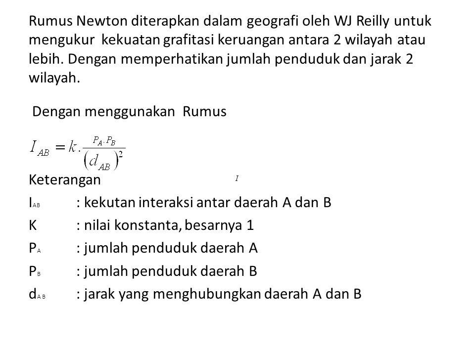 Rumus Newton diterapkan dalam geografi oleh WJ Reilly untuk mengukur kekuatan grafitasi keruangan antara 2 wilayah atau lebih. Dengan memperhatikan ju