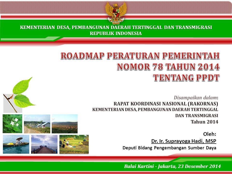 KEMENTERIAN DESA, PEMBANGUNAN DAERAH TERTINGGAL DAN TRANSMIGRASI REPUBLIK INDONESIA Oleh: Dr. Ir. Suprayoga Hadi, MSP Deputi Bidang Pengembangan Sumbe