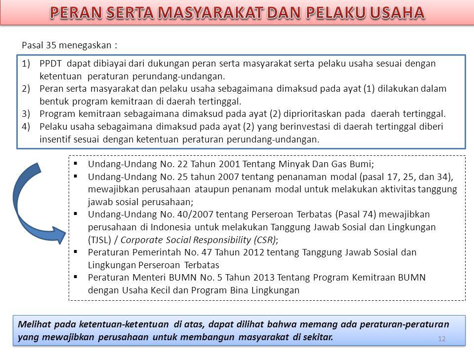 1)PPDT dapat dibiayai dari dukungan peran serta masyarakat serta pelaku usaha sesuai dengan ketentuan peraturan perundang-undangan. 2)Peran serta masy