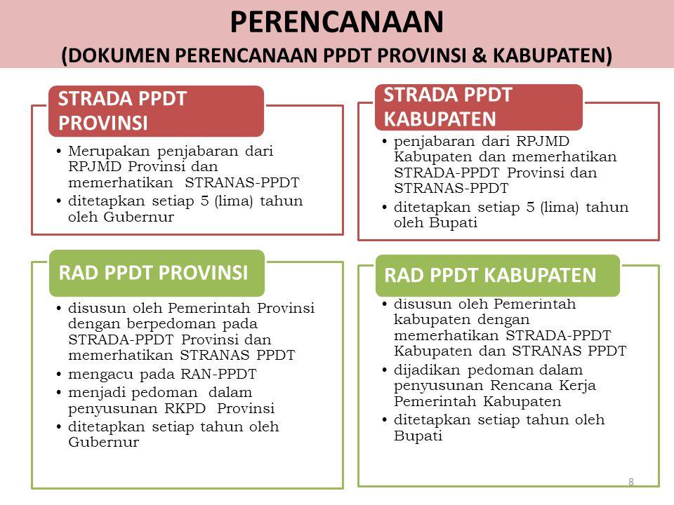 PERENCANAAN (DOKUMEN PERENCANAAN PPDT PROVINSI & KABUPATEN) Merupakan penjabaran dari RPJMD Provinsi dan memerhatikan STRANAS-PPDT ditetapkan setiap 5