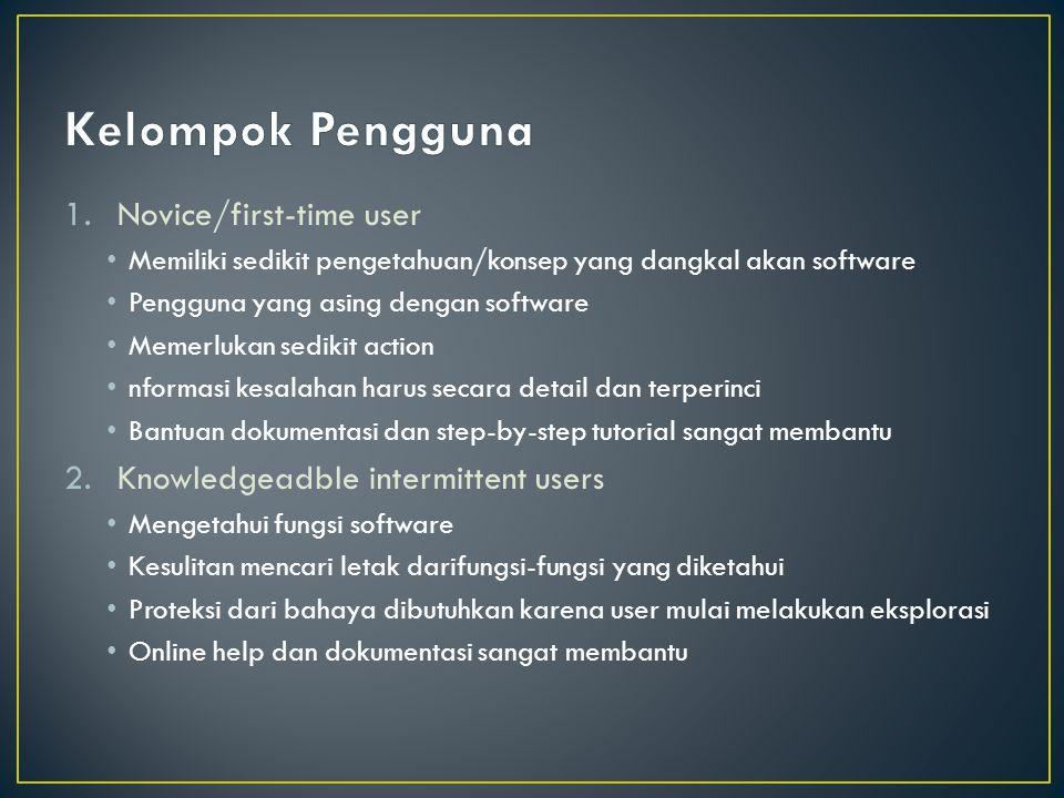1.Novice/first-time user Memiliki sedikit pengetahuan/konsep yang dangkal akan software Pengguna yang asing dengan software Memerlukan sedikit action