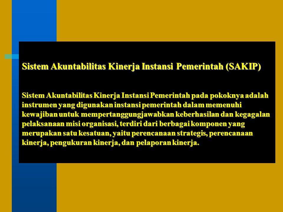 Sistem A kuntabilitas K inerja I nstansi P emerintah (Inpres 7 Tahun 1999) Perencanaan Strategis (Rencana Strategis) Pelaporan Kinerja (Laporan Kinerja/LAKIP) Perencanaan Kinerja (Rencana Kinerja) Pengukuran Kinerja (Form PKK & PPS) (sebagai lampiran LAKIP)