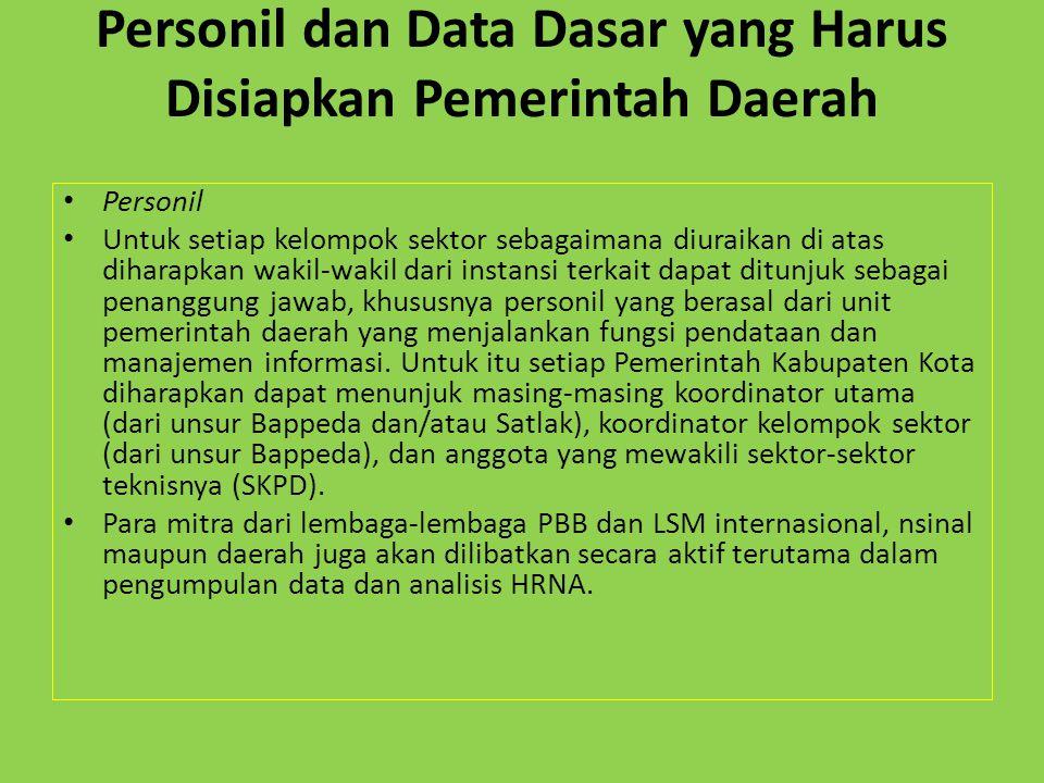 Personil dan Data Dasar yang Harus Disiapkan Pemerintah Daerah Personil Untuk setiap kelompok sektor sebagaimana diuraikan di atas diharapkan wakil-wa