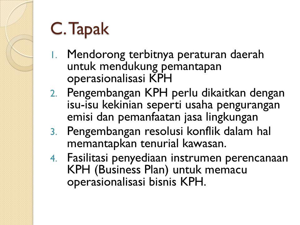 C.Tapak 1. Mendorong terbitnya peraturan daerah untuk mendukung pemantapan operasionalisasi KPH 2.