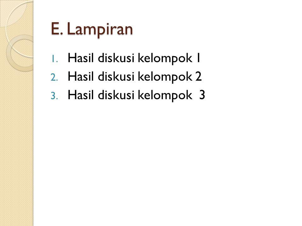 E. Lampiran 1. Hasil diskusi kelompok 1 2. Hasil diskusi kelompok 2 3. Hasil diskusi kelompok 3