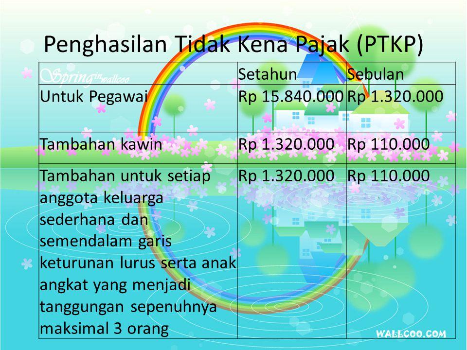 Penghasilan Tidak Kena Pajak (PTKP) SetahunSebulan Untuk PegawaiRp 15.840.000Rp 1.320.000 Tambahan kawinRp 1.320.000Rp 110.000 Tambahan untuk setiap a