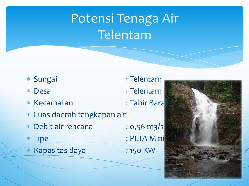  Sungai: Telentam  Desa: Telentam  Kecamatan: Tabir Barat  Luas daerah tangkapan air:  Debit air rencana: 0,56 m3/s  Tipe: PLTA Mini  Kapasitas daya: 150 KW Potensi Tenaga Air Telentam