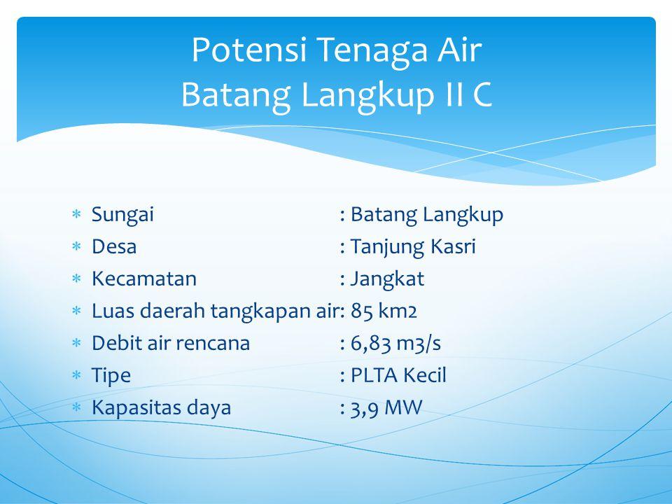  Sungai: Batang Langkup  Desa: Tanjung Kasri  Kecamatan: Jangkat  Luas daerah tangkapan air: 85 km2  Debit air rencana: 6,83 m3/s  Tipe: PLTA Kecil  Kapasitas daya: 3,9 MW Potensi Tenaga Air Batang Langkup II C