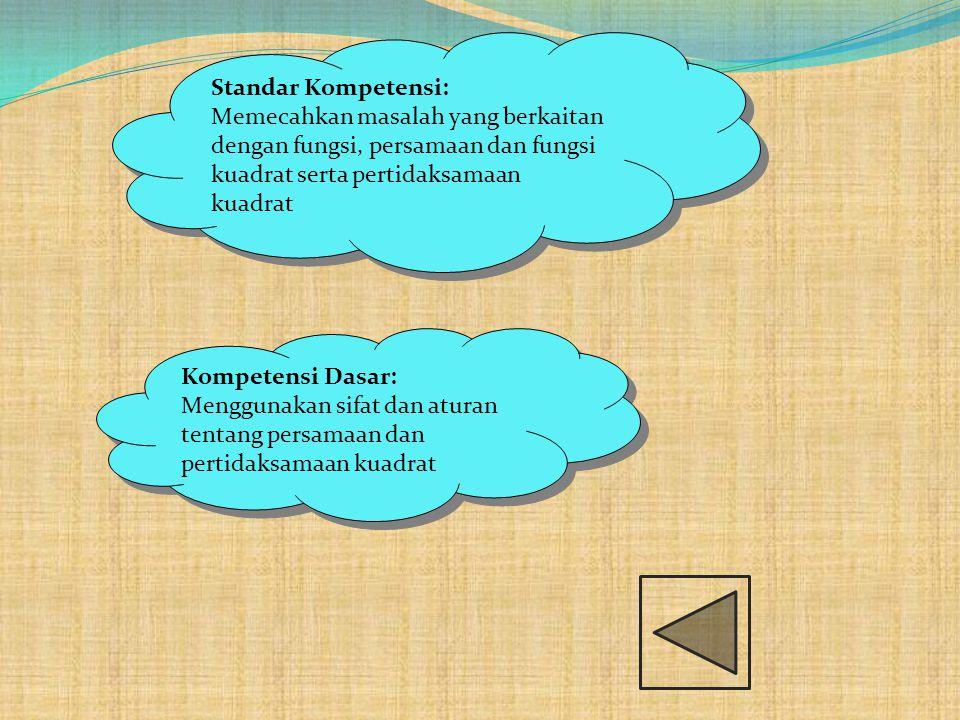 Standar Kompetensi: Memecahkan masalah yang berkaitan dengan fungsi, persamaan dan fungsi kuadrat serta pertidaksamaan kuadrat Standar Kompetensi: Mem