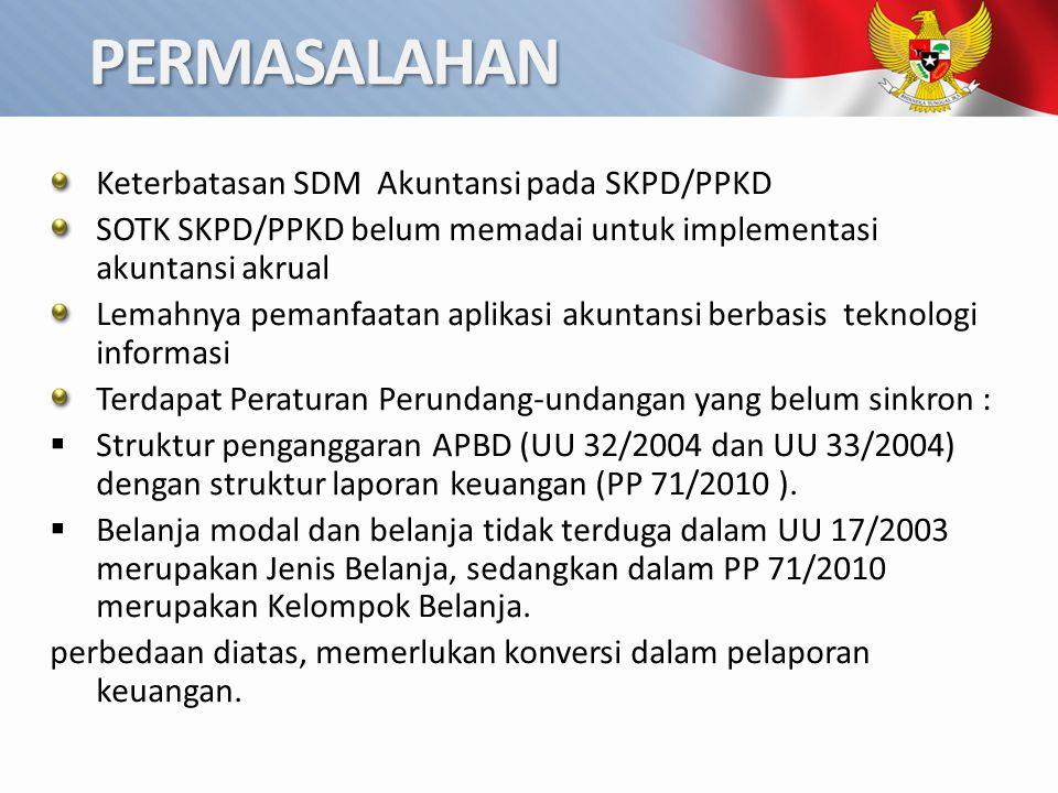 PERMASALAHAN Keterbatasan SDM Akuntansi pada SKPD/PPKD SOTK SKPD/PPKD belum memadai untuk implementasi akuntansi akrual Lemahnya pemanfaatan aplikasi