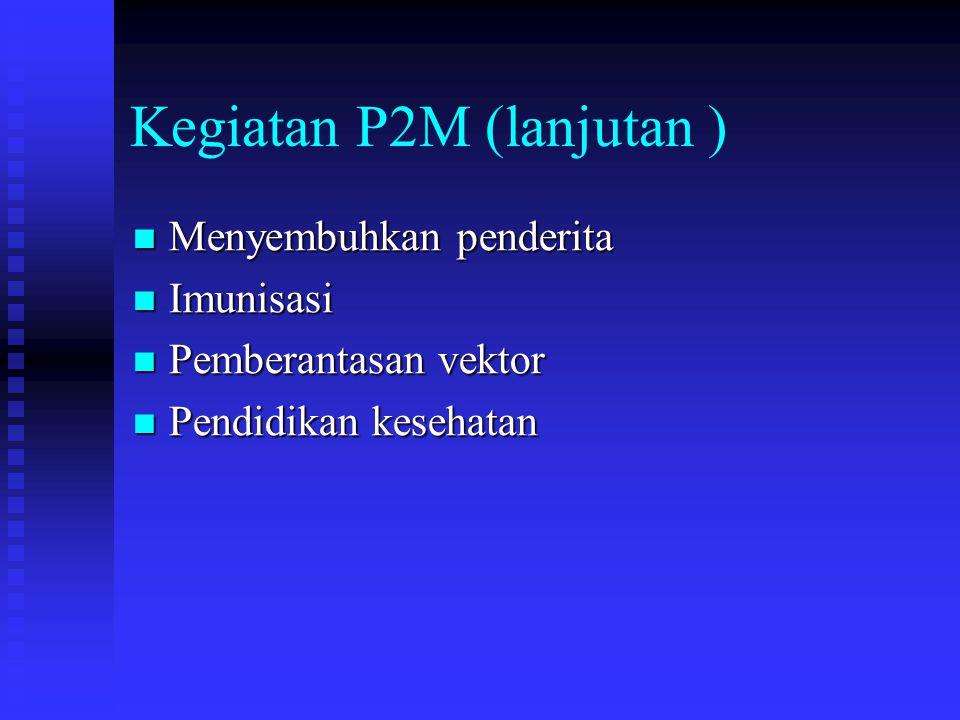 Kegiatan P2M (lanjutan ) Menyembuhkan penderita Menyembuhkan penderita Imunisasi Imunisasi Pemberantasan vektor Pemberantasan vektor Pendidikan kesehatan Pendidikan kesehatan