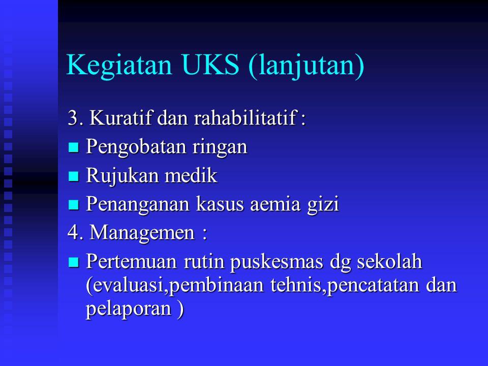 Kegiatan UKS (lanjutan) 3.