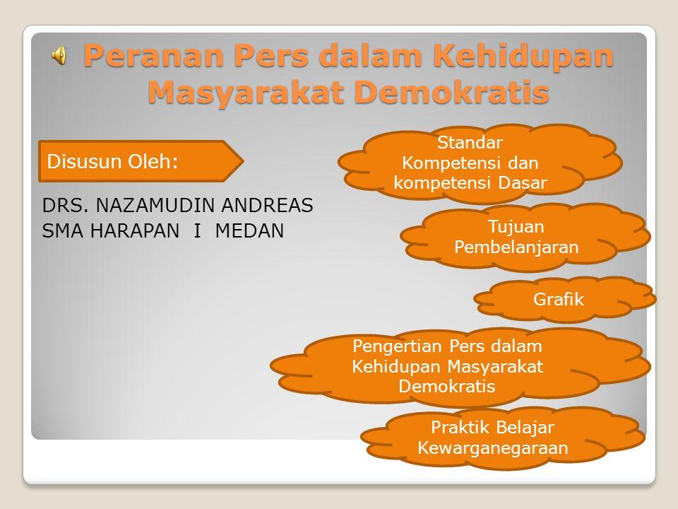 Peranan Pers dalam Kehidupan Masyarakat Demokratis DRS. NAZAMUDIN ANDREAS SMA HARAPAN I MEDAN Disusun Oleh: Standar Kompetensi dan kompetensi Dasar Tu