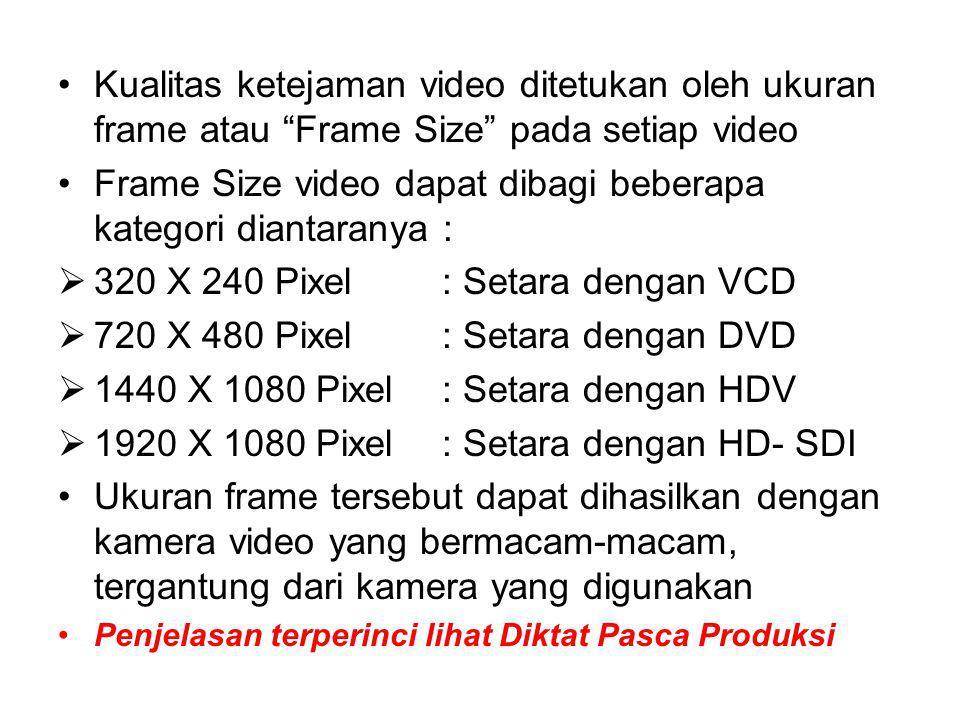 Kualitas ketejaman video ditetukan oleh ukuran frame atau Frame Size pada setiap video Frame Size video dapat dibagi beberapa kategori diantaranya :  320 X 240 Pixel : Setara dengan VCD  720 X 480 Pixel : Setara dengan DVD  1440 X 1080 Pixel : Setara dengan HDV  1920 X 1080 Pixel : Setara dengan HD- SDI Ukuran frame tersebut dapat dihasilkan dengan kamera video yang bermacam-macam, tergantung dari kamera yang digunakan Penjelasan terperinci lihat Diktat Pasca Produksi