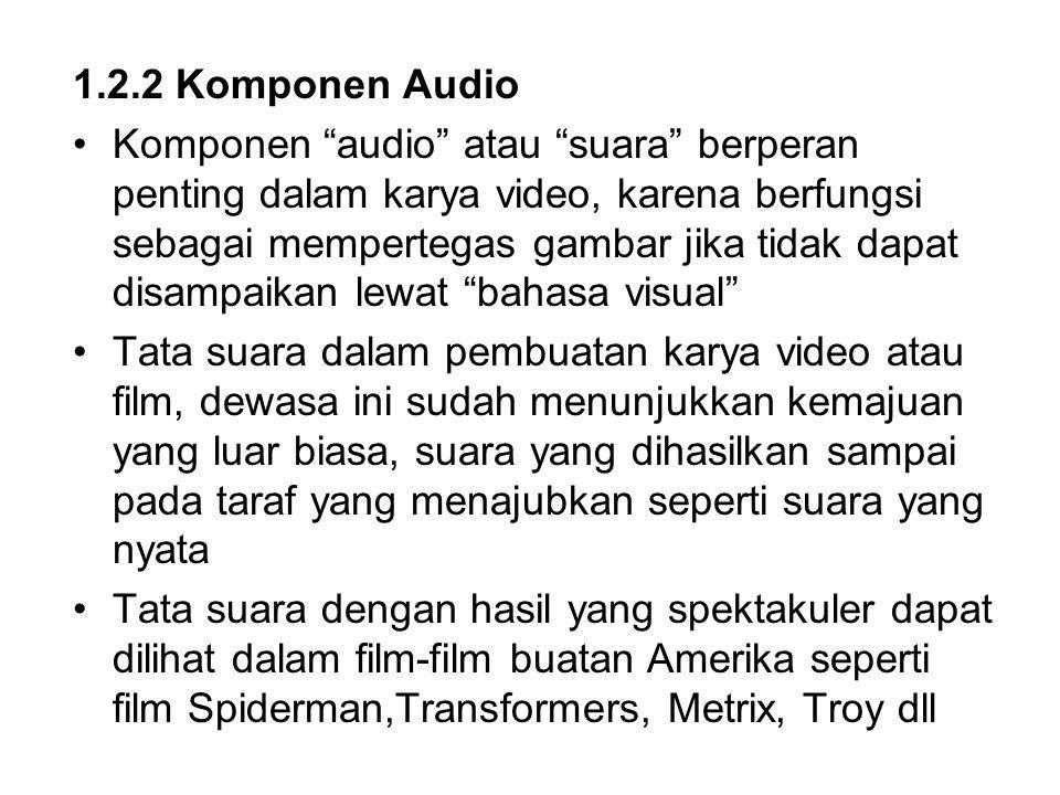 1.2.2 Komponen Audio Komponen audio atau suara berperan penting dalam karya video, karena berfungsi sebagai mempertegas gambar jika tidak dapat disampaikan lewat bahasa visual Tata suara dalam pembuatan karya video atau film, dewasa ini sudah menunjukkan kemajuan yang luar biasa, suara yang dihasilkan sampai pada taraf yang menajubkan seperti suara yang nyata Tata suara dengan hasil yang spektakuler dapat dilihat dalam film-film buatan Amerika seperti film Spiderman,Transformers, Metrix, Troy dll