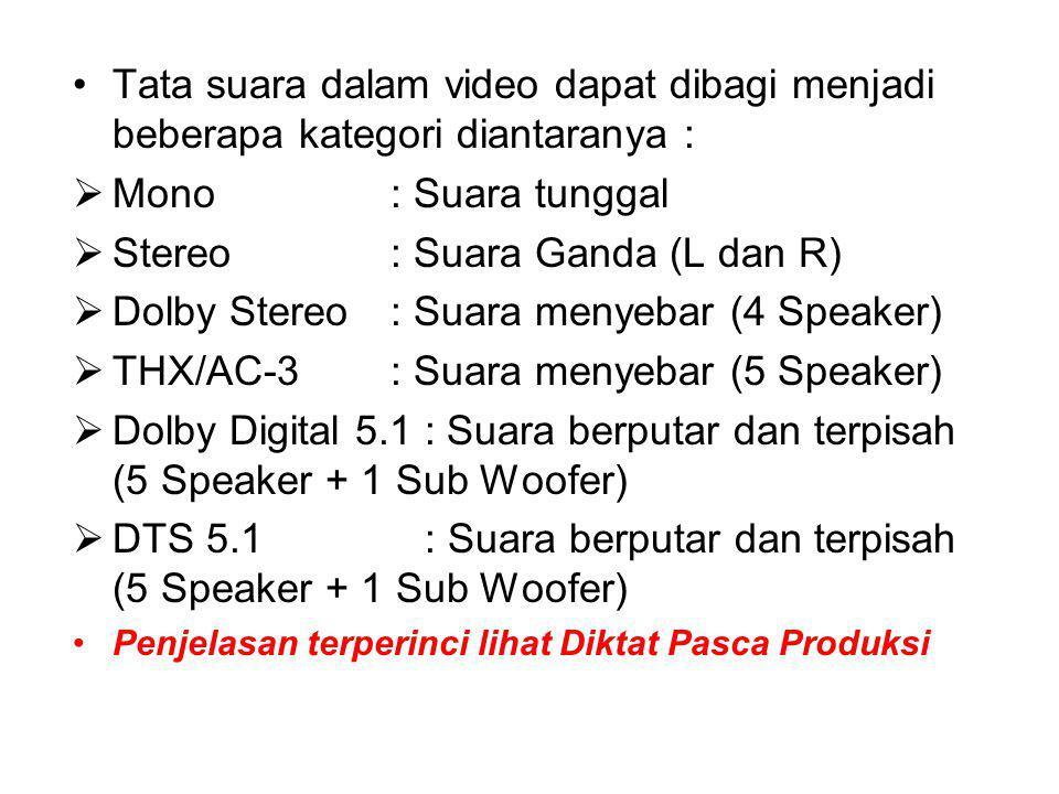 Tata suara dalam video dapat dibagi menjadi beberapa kategori diantaranya :  Mono : Suara tunggal  Stereo: Suara Ganda (L dan R)  Dolby Stereo: Suara menyebar (4 Speaker)  THX/AC-3: Suara menyebar (5 Speaker)  Dolby Digital 5.1 : Suara berputar dan terpisah (5 Speaker + 1 Sub Woofer)  DTS 5.1 : Suara berputar dan terpisah (5 Speaker + 1 Sub Woofer) Penjelasan terperinci lihat Diktat Pasca Produksi