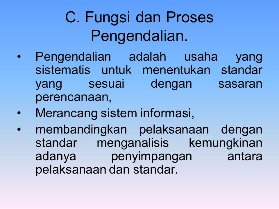 C. Fungsi dan Proses Pengendalian. Pengendalian adalah usaha yang sistematis untuk menentukan standar yang sesuai dengan sasaran perencanaan, Merancan
