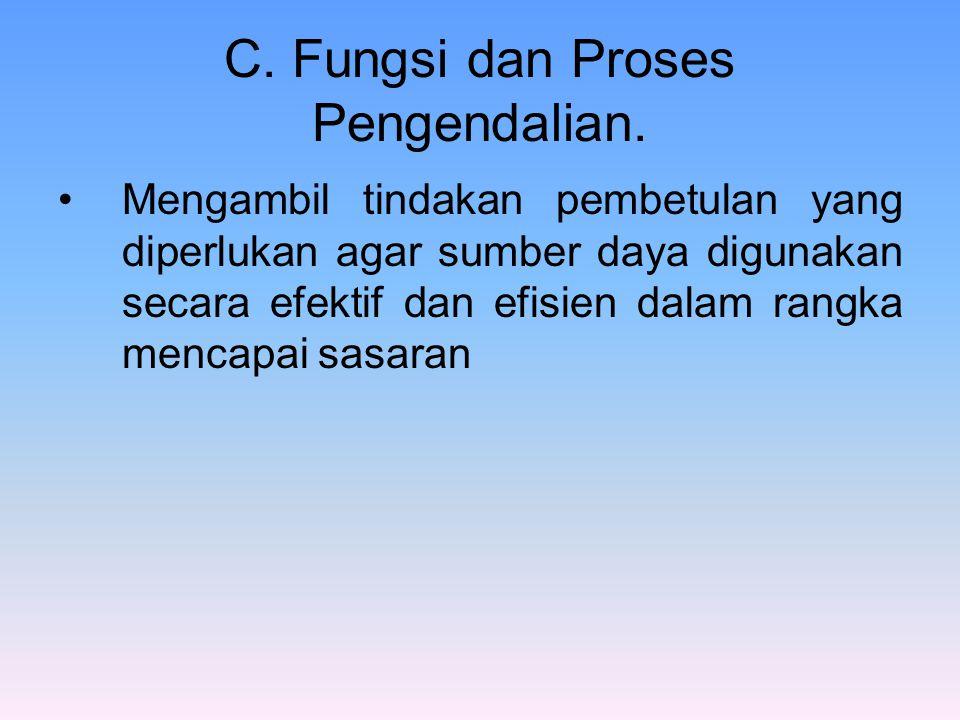 C. Fungsi dan Proses Pengendalian. Mengambil tindakan pembetulan yang diperlukan agar sumber daya digunakan secara efektif dan efisien dalam rangka me