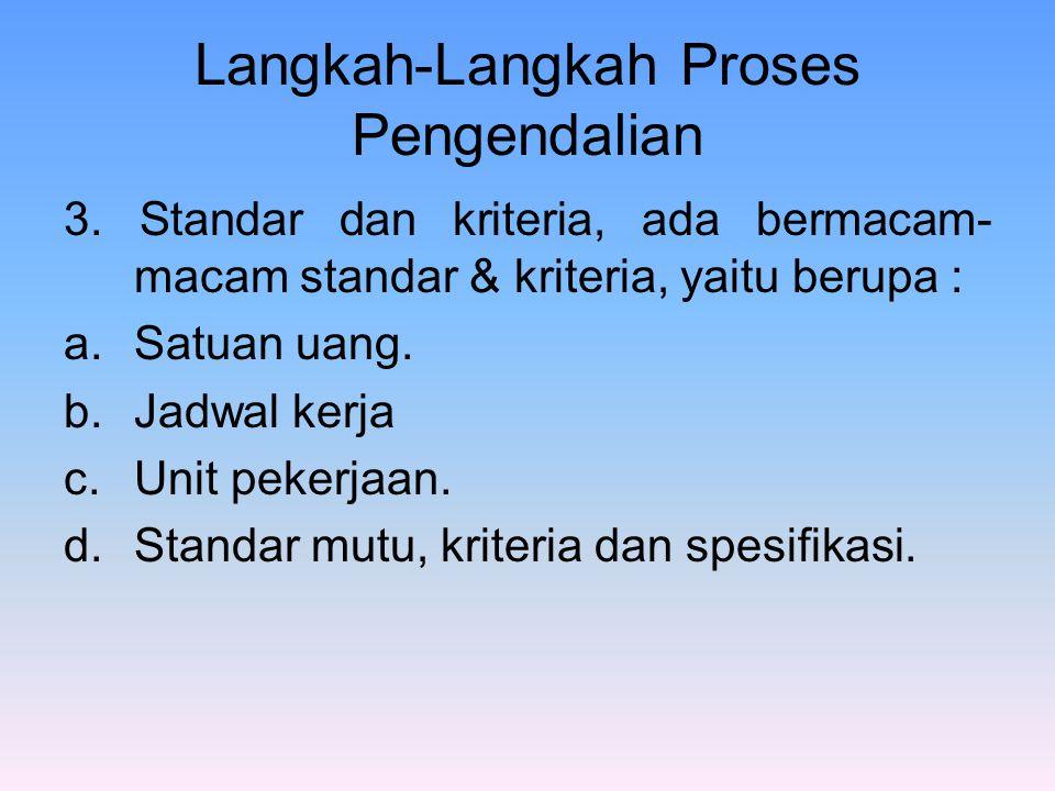 Langkah-Langkah Proses Pengendalian 3. Standar dan kriteria, ada bermacam- macam standar & kriteria, yaitu berupa : a.Satuan uang. b.Jadwal kerja c.Un