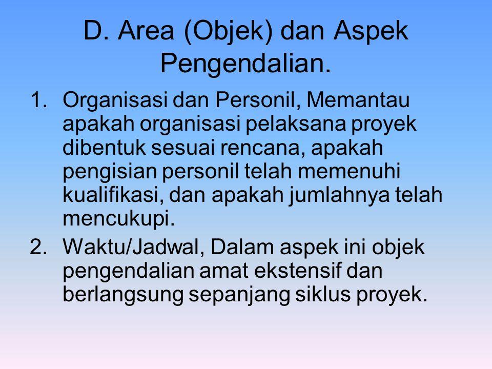 D. Area (Objek) dan Aspek Pengendalian. 1.Organisasi dan Personil, Memantau apakah organisasi pelaksana proyek dibentuk sesuai rencana, apakah pengisi